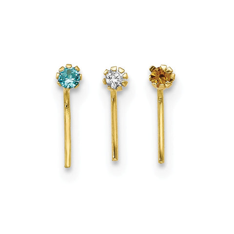 10k 1.5mm Set Of 3 Nose Studs
