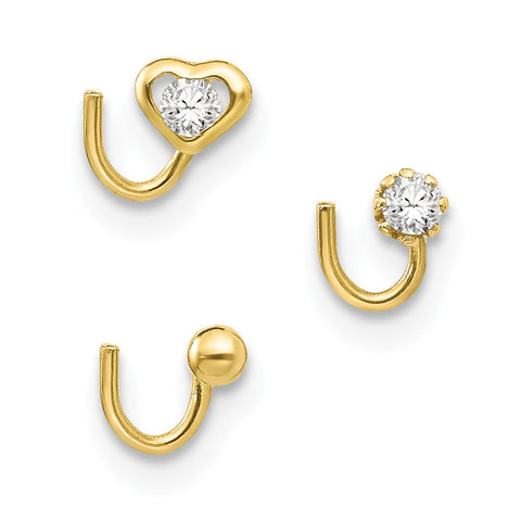 10k Set Of 3 Nose Studs