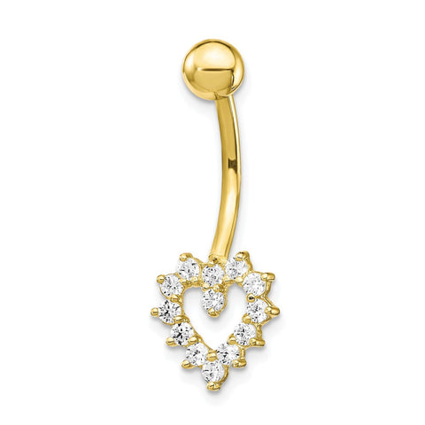 10k W/Cz Heart Belly Dangle