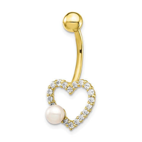 10k W/FW Cultured Pearl/Cz Heart Belly Dangle