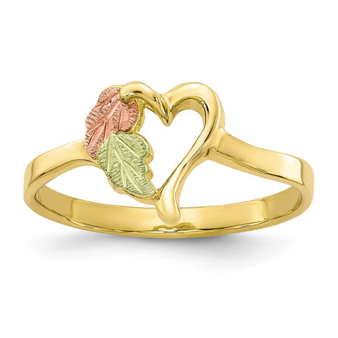 10k Tri-color Black Hills Gold Heart Ring