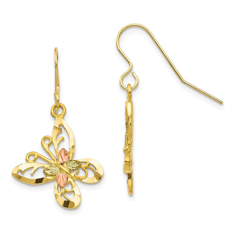 10k Tri-color Black Hills Gold Butterfly Shepherd Hook Earrings