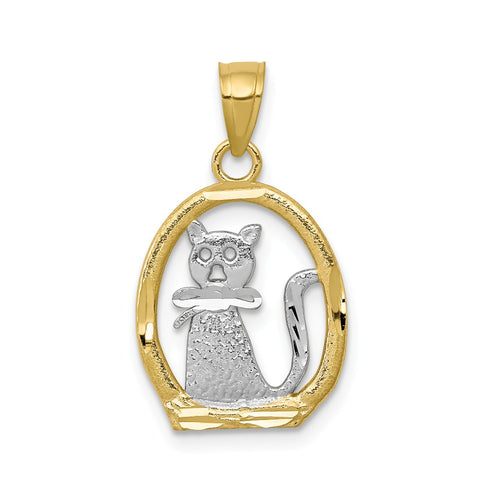 10k & Rhodium Cat Pendant