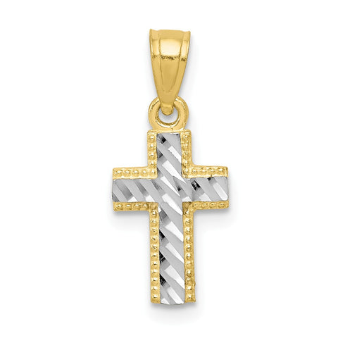 10k & Rhodium Tiny Diamond-Cut Cross Pendant
