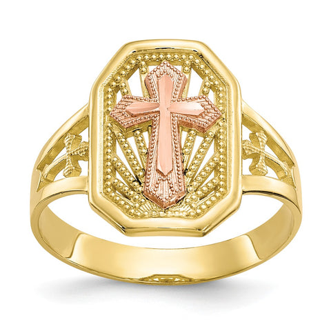 10k Two-tone Filigree Cross Ring