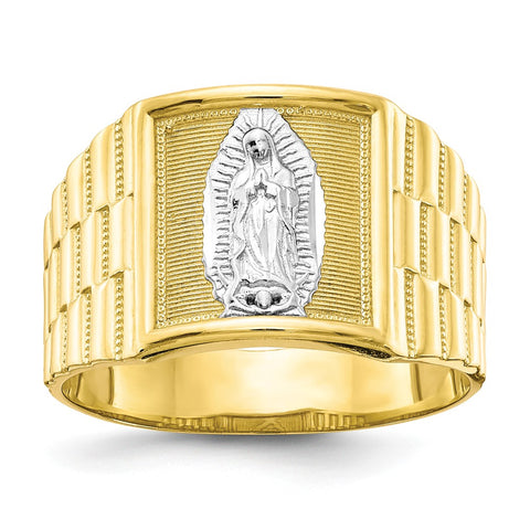 10k & Rhodium Men's Our Lady of Guadalupe Ring