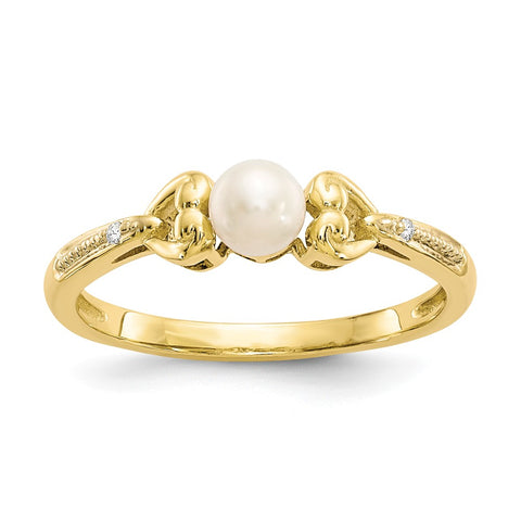 10K FW Cultured Pearl Diamond Ring