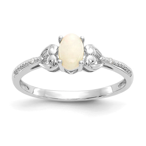 10k White Gold Opal Diamond Ring