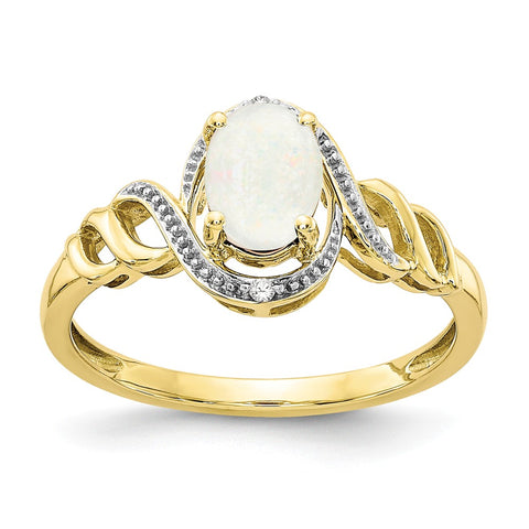10K Opal Diamond Ring