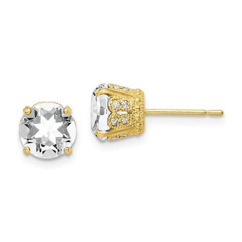 10K Tiara Collection Diamond Lab Created White Sapphire Post Earrings