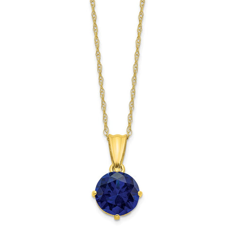 10K Tiara Collection Polished Diamond Lab Created Sapphire Necklace