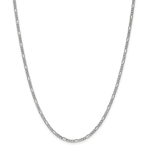 14k 2.5mm White Gold Semi-Solid Figaro Chain