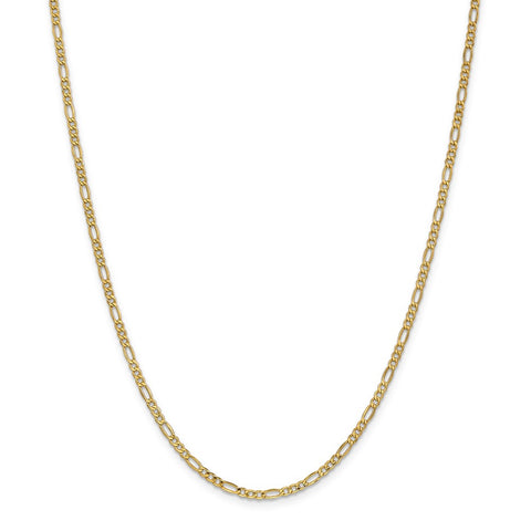 14k 2.5mm Semi-Solid Figaro Chain