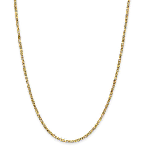 14k Yellow Gold 2.40mm Semi-Solid Anchor Chain
