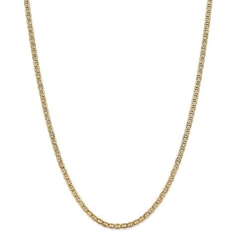 14k Yellow Gold 3.20mm Semi-Solid Anchor Chain