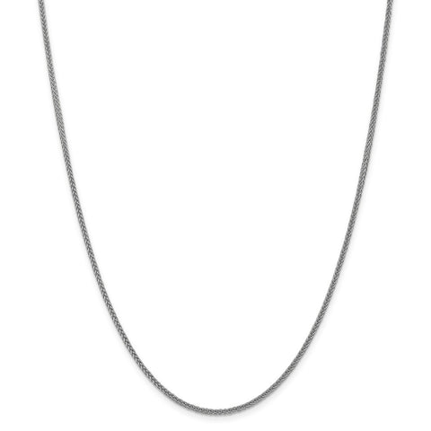 14k White Gold 2mm Semi-solid 3-Wire Wheat Chain