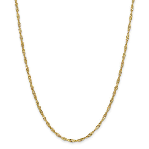 14k 2.75mm Lightweight Singapore Chain