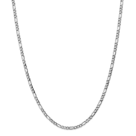 14k White Gold 3.5mm Semi-Solid Figaro Chain