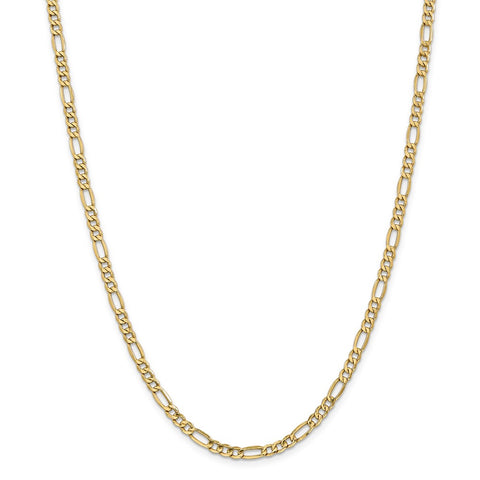 14k 4.75mm Semi-Solid Figaro Chain