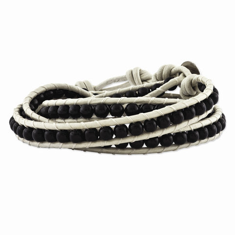 Sterling Silver 4mm Onyx White Leather Multi Wrap Bracelet