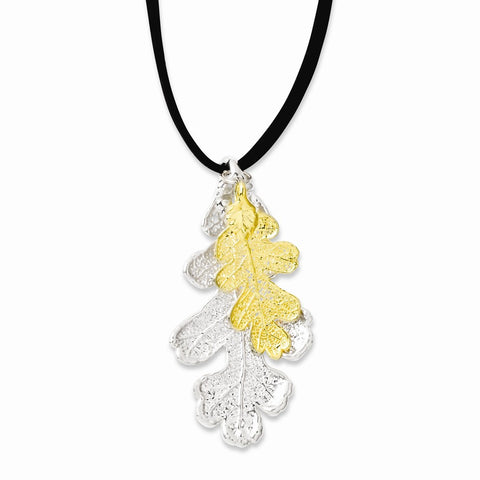 Silver/24k Gold Dipped Oak Leaf Necklace w/ Leather Cord