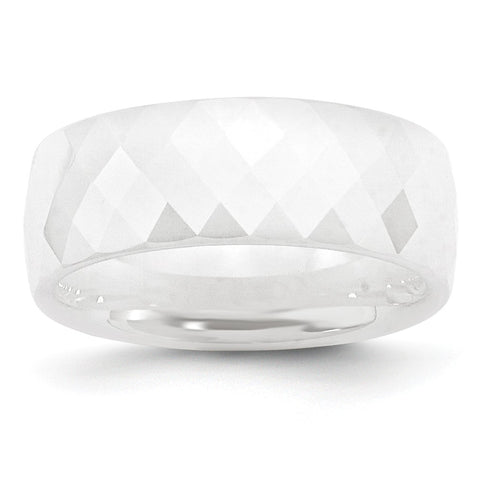 Ceramic White Faceted 8mm Polished Band