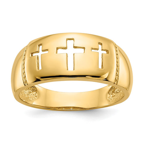 14k Polished & Rhodium Cut-out 3 Cross Ring