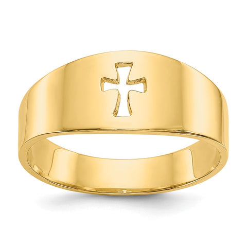 14k Polished Cut-out Cross Ring