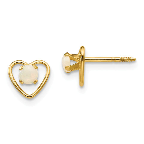 14k Madi K 3mm Opal Birthstone Heart Earrings