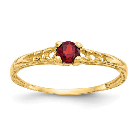 14k Madi K 3mm Garnet Birthstone Baby Ring