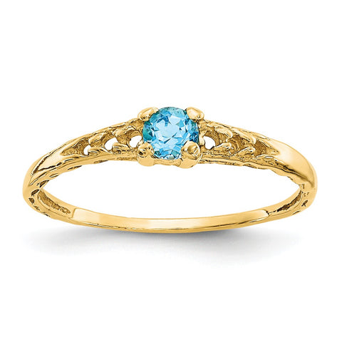 14k Madi K 3mm Blue Topaz Birthstone Baby Ring