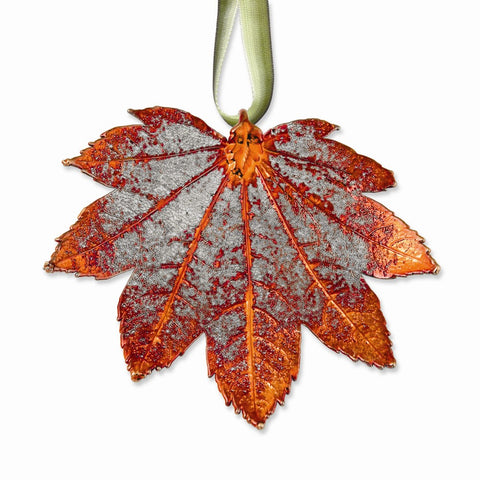 Iridescent Copper Dipped Full Moon Maple Decorative Leaf