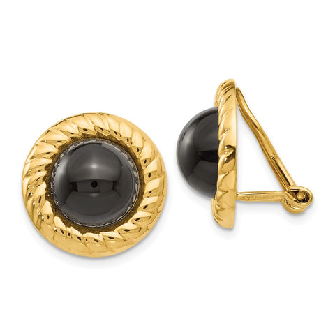 14k Omega Clip Non-Pierced Onyx Earrings