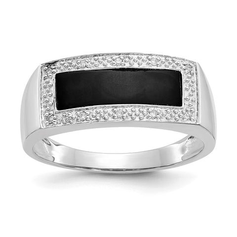 14k White Gold Onyx & A Quality Diamond Mens Ring