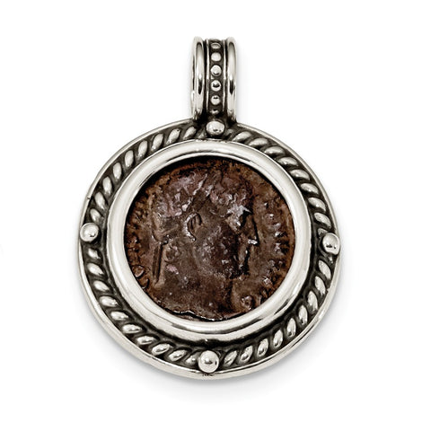 Sterling Silver & Bronze Antiqued Constantine I Coin Pendant