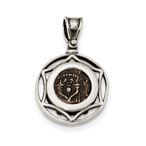 Sterling Silver & Bronze Antiqued Yehohanan Coin Pendant
