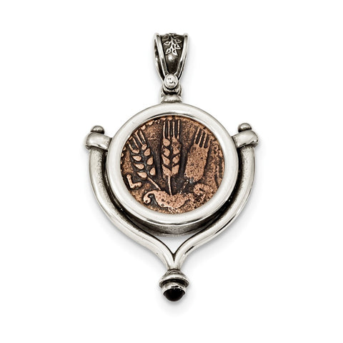 Sterling Silver Garnet Cabochon & Bronze Antiqued Agrippa Coin Pendant