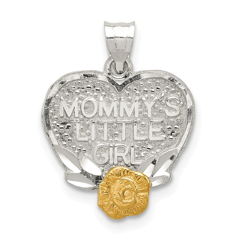 Sterling Silver W/Vermeil Mommys Little Girl Heart Charm