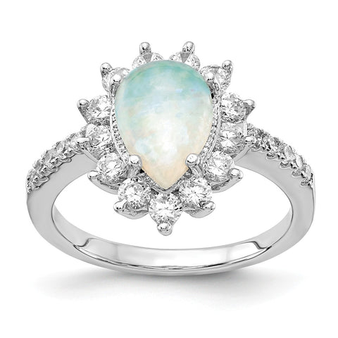 Cheryl M Sterling Silver CZ Synthetic Opal Pear Shaped Ring