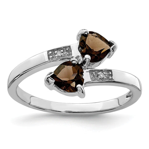 Sterling Silver Rhodium Smoky Quartz & Diamond Heart Ring