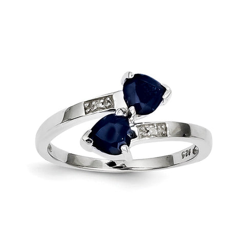 Sterling Silver Rhodium-plated Dark Sapphire & Diamond Heart Ring