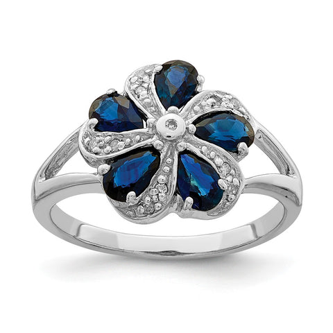 Sterling Silver Rhodium-plated Sapphire Diamond Ring