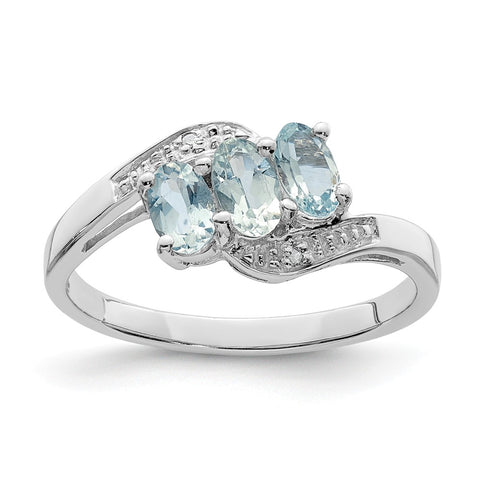 Sterling Silver Rhodium Aqua & Diamond Ring