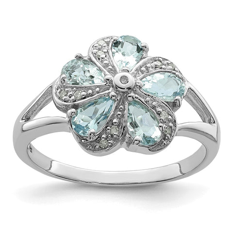 Sterling Silver Rhodium Aquamarine Diamond Ring
