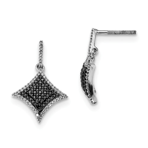 Sterling Silver Black and White Diamond Dangle Post Earrings