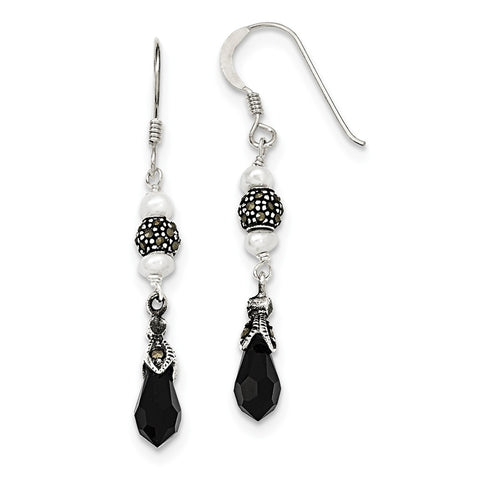 Sterling Silver Onyx & FW Cultured Pearl Marcasite Dangle Earrings