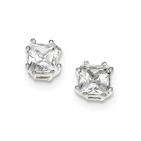 Sterling Silver Princess CZ Stud Earrings