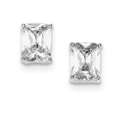 Sterling Silver Emerald CZ Stud Earrings