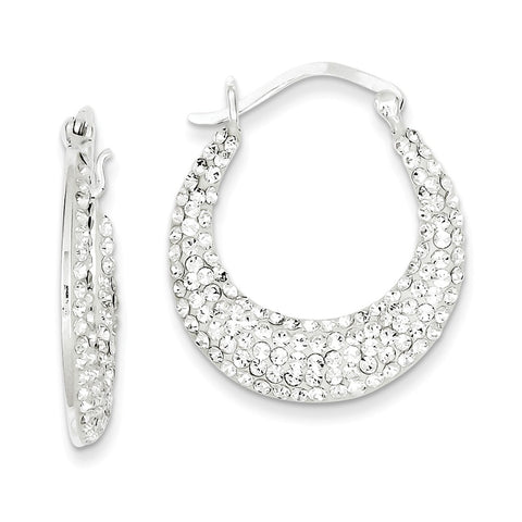 Sterling Silver w/ Stellux Crystal Hoop Earrings