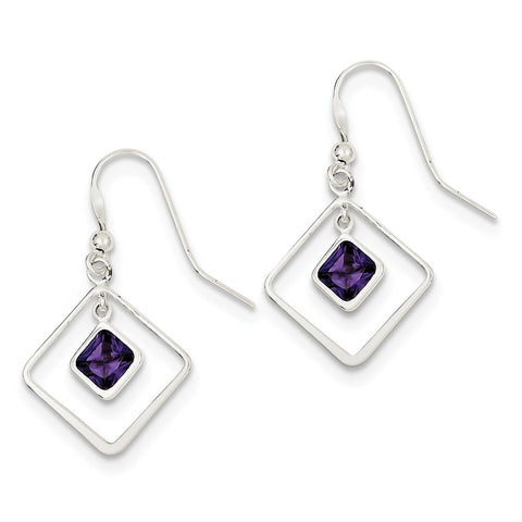 Sterling Silver Diamond Shaped Purple CZ Earrings